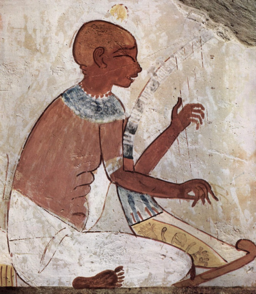 A mural of a blind musician playing a harp, from the tomb of the ancient Egyptian scribe called Nakht.