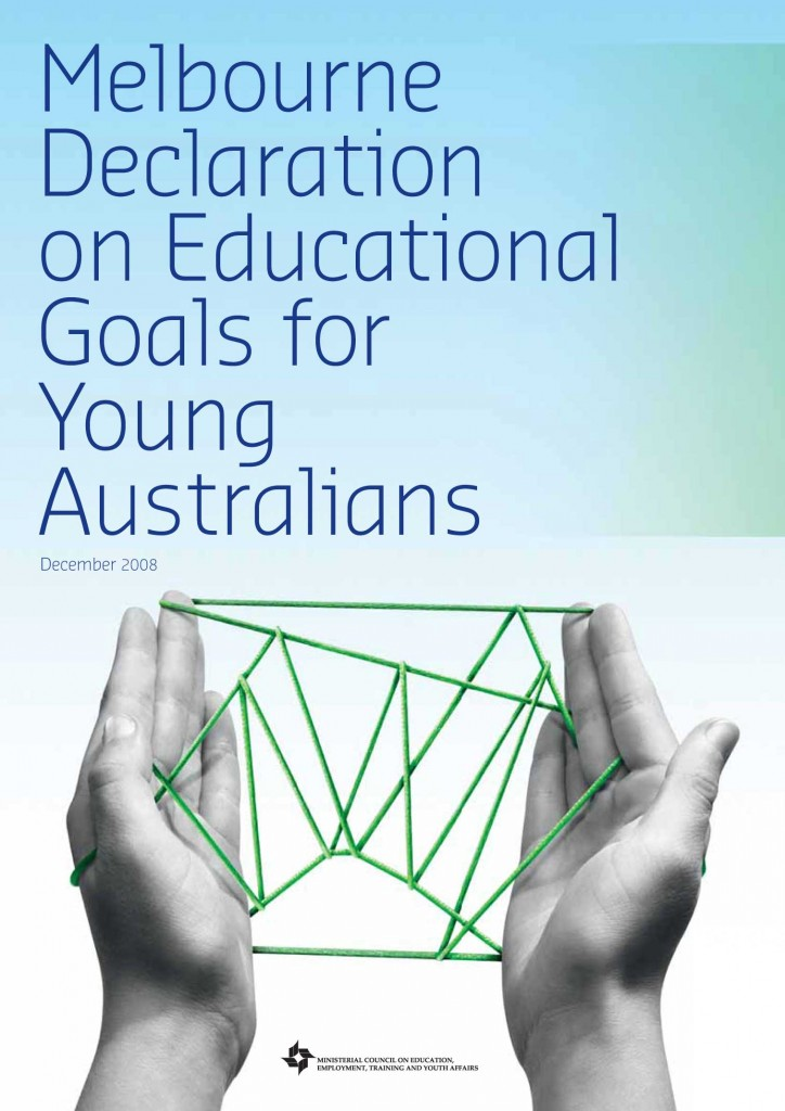 "The Melbourne Declaration on Educational Goals for Young Australians, 2008 reiterates the continued status of the arts in future curriculum provision. It acknowledges that the arts contribute to understanding ""the spiritual, moral and aesthetic dimensions of life; and open up new ways of thinking."""